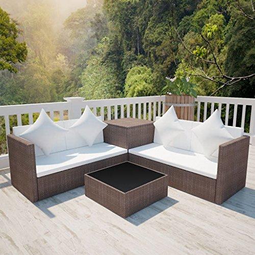 furnituredeals Ensemble canapés de jardin 14 pièces en polyrotin modulaire marron.Ce lot de haute qualité sont robuste et résistant.Idéal pour jardins et extérieur