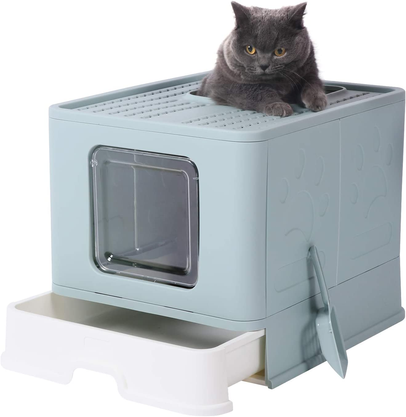 GENENIC Max 64% OFF Top Max 49% OFF Entry Cat Litter Foldable Box Scoop with