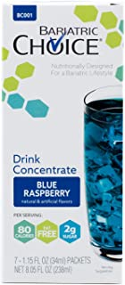 Bariatric Choice Low-Carb Liquid Protein Fruit Drink Concentrate - Blue Raspberry Flavored Drink Mix To Enhance Water (7 Count)