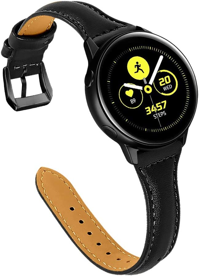 Joyozy Leather Band Compatible with Galaxy Watch Active(40mm)/2(40mm), (44mm), Woman Man 20mm Slim Leather Wristband Strap for Galaxy Watch 42mm/Gear S4/Gear S2 Classic SM-R732/735 (Black/Black)