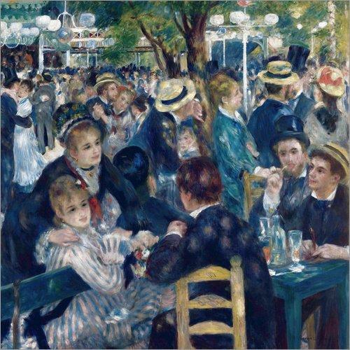 Poster 70 x 70 cm: Tanz im Moulin de la Galette von Pierre-Auguste Renoir - hochwertiger Kunstdruck, neues Kunstposter