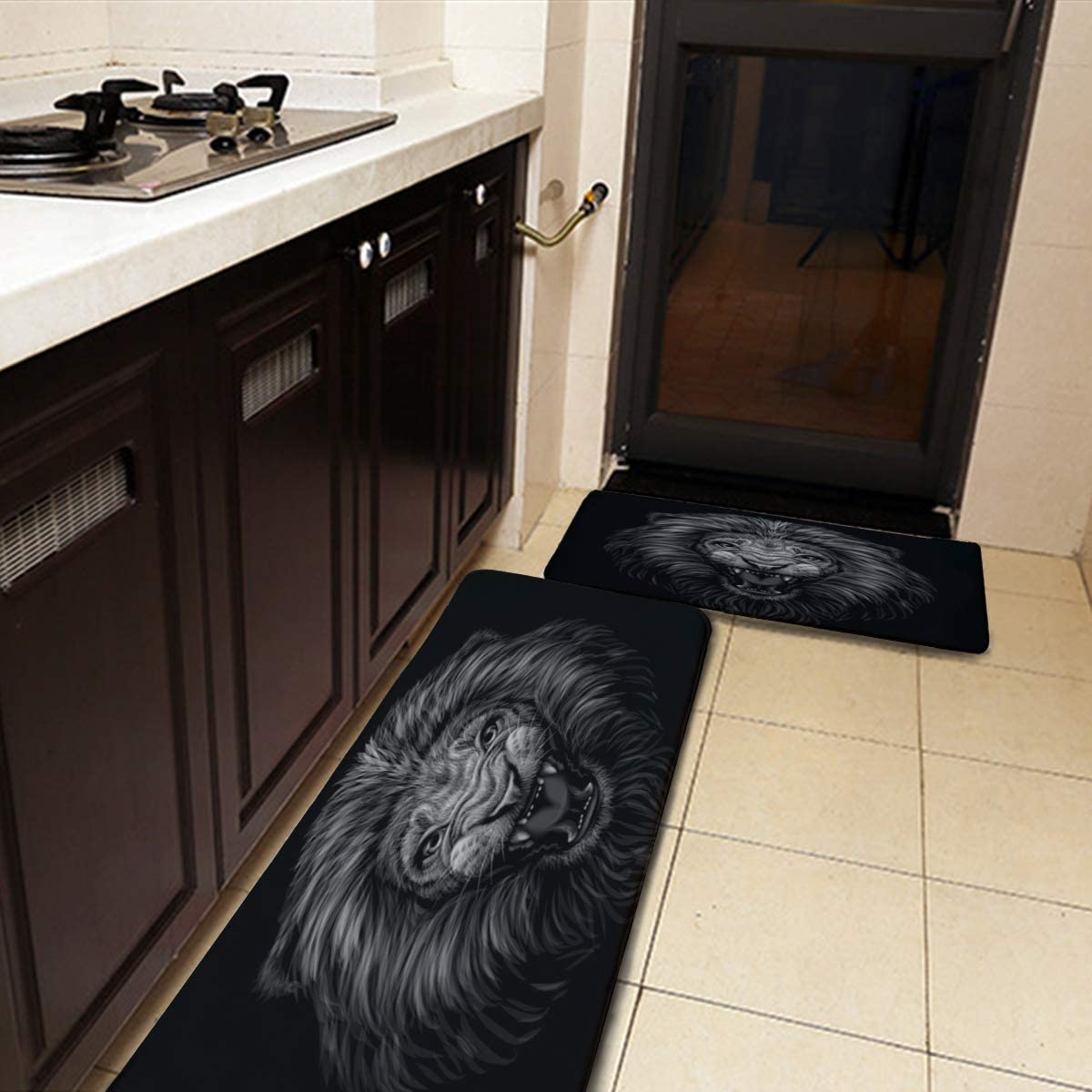 Kitchen Mat Set Of 2 Glowing Butterflies And Stars On Black Anti Fatigue Waterproof Cushioned Soft Kitchen Rugs Non Slip Comfort Floor Mats Washable Doormat Bathroom Runner Area Rug Carpet Kitchen Table