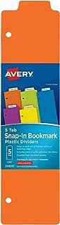 فواصل كتاب بلاستيكية سهلة التركيب من شركة أفري، 5 ألواف، مجموعة واحدة، متعدد الألوان (24908)