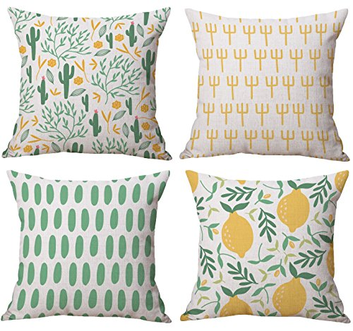 BLUETTEK Cute Fresh Summer Style, Green Cactus, Yellow Lemons, Cotton Linen Burlap Decorative Throw Pillow Covers Set of 4 for Couch, Sofa, Bedroom, Living room, 18x18 Inches
