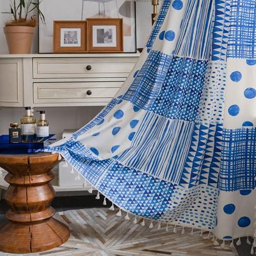 1 pezzo blu puzzle tende per finestra semi-oscuranti per soggiorno camera da letto, stile punzone 59 'W x 70,8' L (150x180 cm)