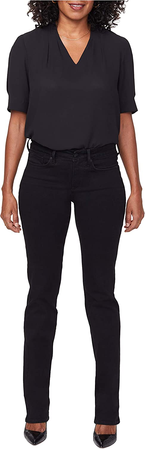 NYDJ Women's Petite Marilyn Straight Jeans with Catwalk Embroidery Details
