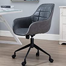 PU Leather Computer Office Chair,Height Adjustable Swivel Task Seat,45° Tiltable with Backrest and Arm,for Work Room/Bedro...