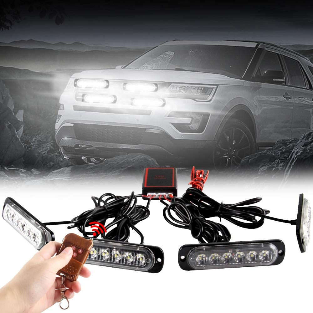 Teguangmei 24LED 4 in 1 Car Emergency Strobe Flashing Hazard Lights Surface Mount Grill Light Warning External Light with Wireless Remote for Vehicle Truck Trailer Van DC12V Red