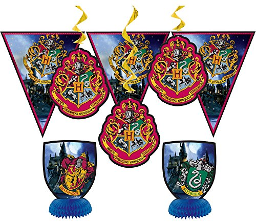 happy deals Harry Potter Party Decorations Kit - 7 pc set -Wizard Party Pack - (1) Banner, (2) Centerpieces and (4) Hanging Decorations