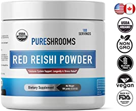 *New*Pure Shrooms -Organic Red Reishi Powder - 100 Servings - Strengthens Immune System, Relieves Anxiety & Stress- Promotes Calm & Healthy Moods. Beta-D-Glucans: 30% and No Added Starch. (100 Grams)