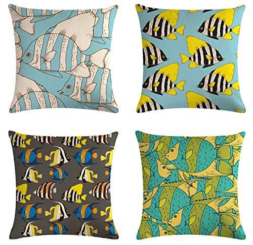 SCVBLJS Anime Tropical Fish Funda De Almohada Decorativa De Lino De Algodón Funda De Almohada Cojín para El Hogar Dormitorio Interior Al Aire Libre 45X45Cm