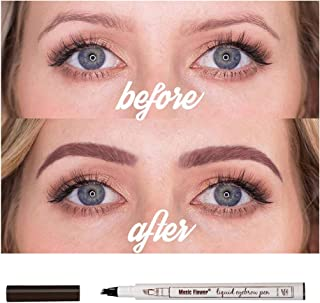 Authentic Music Flower Eyebrow Tattoo Pen Microblading-3D Fork Tip - Pack of 1, Auburn(Brown)