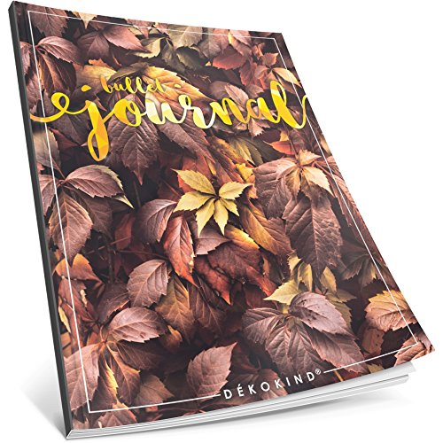 Dékokind® Bullet Journal: Ca. A4-Format • 100 Seiten, Punktraster Notizbuch mit Register • Dotted Grid Notebook, Punktkariertes Papier, Zeichenbuch • ArtNr. 31 Herbstblätter • Vintage Softcover