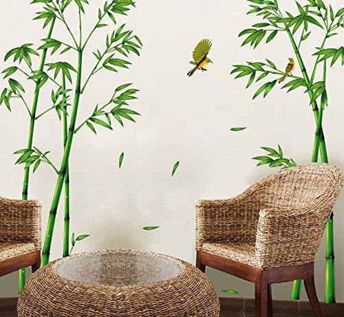ufengke® Grüner Bambus und der Vogel Wandsticker, Wohnzimmer Schlafzimmer Entfernbare Fenstersticker Wandtattoos Wandbilder