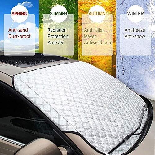 Protezione parabrezza Car Snow Ice Cover Copertura Parasole Auto Anti UV con 3 in 1 Telo Impermeabile Copriauto Antineve, Protector Antighiaccio Adatto per Maggior Parte dei Veicoli (145x99cm)