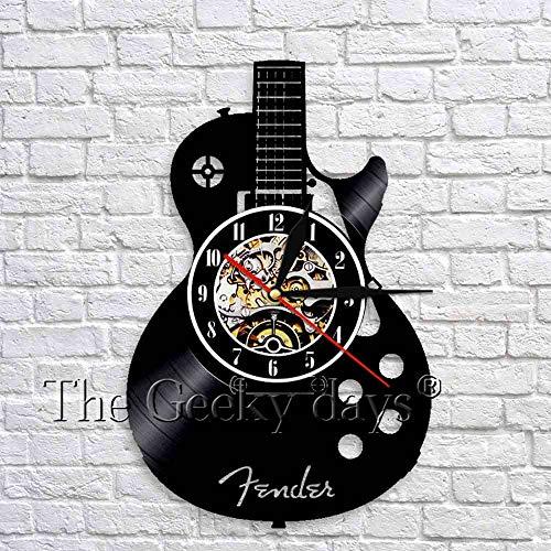 wtnhz LED-Folk guitar wall art clock musical instrument guitar vinyl record wall clock 3D wall clock modern design decoration