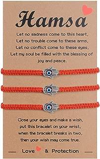 SUNSH Hamsa Evil Eye Distance Matching Bracelets for Women Girls Braided String Bracelets Rotating Kabbalah Hand Bracelet with Message Card Gift