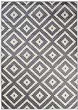 We Love Rugs - Carpeto Orientalisches Marokkanisches Teppich - Flor Modern Designer Muster - Wohnzimmer Schlafzimmer Esszimmer - Grau Weiß - 120 x 170 cm