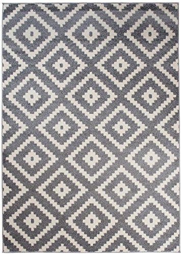 We Love Rugs - Carpeto Orientalisches Marokkanisches Teppich - Flor Modern Designer Muster - Wohnzimmer Schlafzimmer Esszimmer - Grau Weiß - 60 x 100 cm