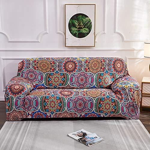 ASCV Bohemia Elastic Slipcovers Sofa Universal Sofabezug Cotton Stretch Sectional Couch Eckbezug für Wohnzimmer Haustiere A3 1-Sitzer