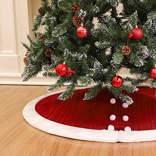 WBHome Christmas Tree Skirt, 48 inch Double-Layer Cable Knit Knitted Thick Rustic Holiday Decoration, Christmas Red with Snow White Plush