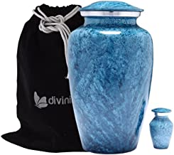 Divinityurns Blue Marble Finish Cremation Urn Set - Blue Urn - Affordable Handcrafted Adult Funeral Urn for Ashes - Large Urn with Free Keepsake Deal