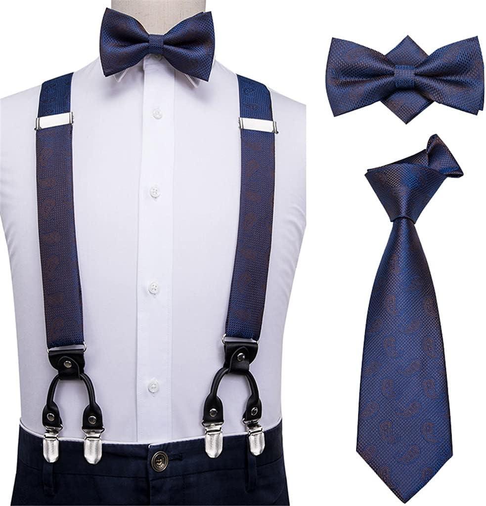 NJBYX Royal Blue Suspenders for Pants Leather 6 Clips Braces Vintage Men's Bow Tie and Suspender for Men 3.5cm Width (Color : A, Size : Adjustable)