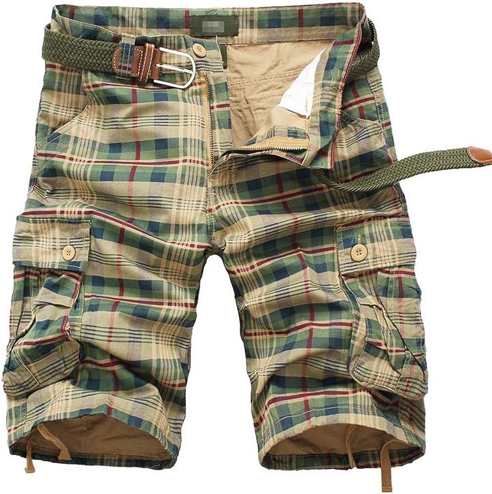 IDEALSANXUN Men's Plaid Cargo Shorts Multi-Pockets Short Cargo Pants