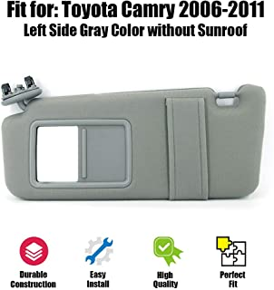 ustar Sun Visor Left Driver Side Fit for Toyota Camry 2006 2007 2008 2009 2010 2011 Replacement Part #74320-06780-B0 Without Sunroof