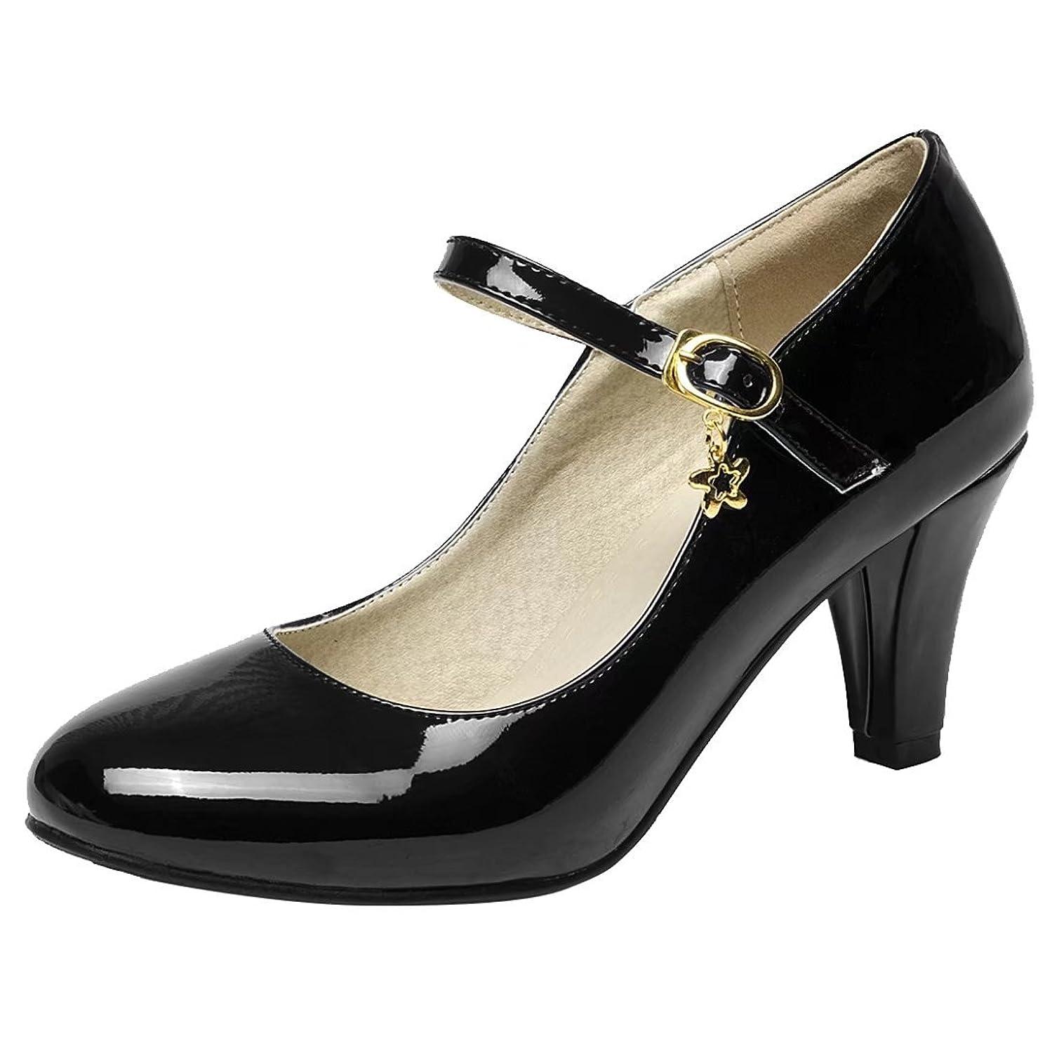通常スキニー背景AIYOUMEIチャンキーヒール エナメル 靴 レディース パンプス 歩きやすい ビジネスシューズ 甲ストラップポインテッドトゥ ハイヒール 大きい通勤ファッションカジュアル