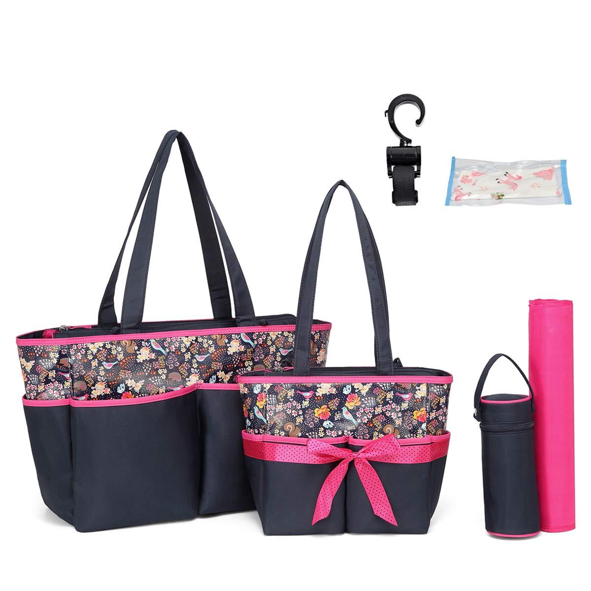 Diaper Tote Bag Diaper Bag - Nappy Bag Baby Diaper Totes for Mom Grils Unisex Maternity Nappy Bag Organizer Large Capacity Canva Tote Bag Beach Bag (Pink)