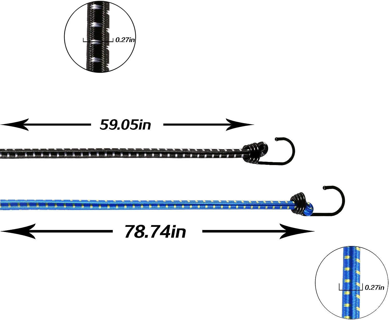 Corde Elastiche con Ganci Bungee Cords per Bicicletta Campeggio Fissaggio Bagagli Ganci EDATOFLY 4 Pezzi Cavi Elastici Porta Pacchi con Ganci