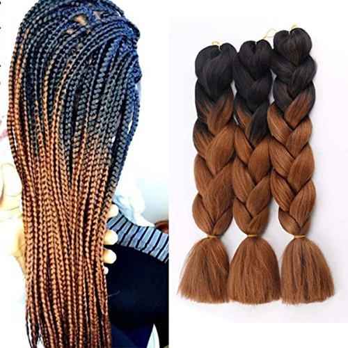 Jumbo Braids Coloré Synthétique Kanekalon Extensions de Cheveux pour DIY Crochet Box Tressage Ombre 100g/pc 2Tone Noir-Brun 3pcs/Lot 61cm(24 pouces)