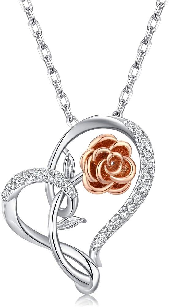 Odinstone collana donna con pendente a cuore in argento sterling 925 OM-000105-2