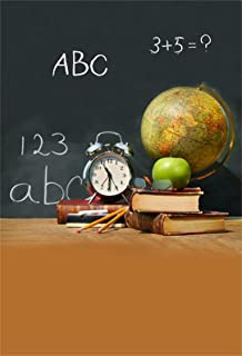 AOFOTO 5x7ft Chalkboard Background School Supplies with Blackboard Photography Backdrop Schoolchild Studies Accessories Books Globe Pencil Apple Clock Kid Child Boy Girl Portrait Photo Studio Props