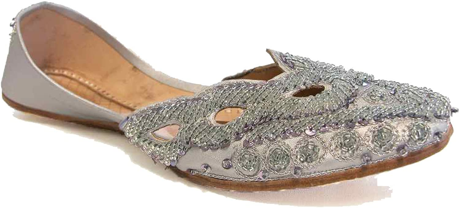 Beachcombers Beautiful Silver Cut Out Ethnic Indian Khussa shoes Wedding Bridal Flats