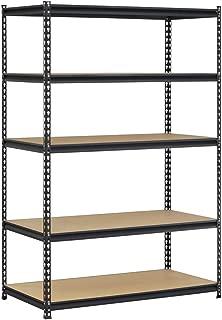 Edsal UR1848AZ-BLK Steel Storage Rack, 5 Adjustable Shelves with Post Couplers and Plastic End Caps, 4000 lb. Capacity, 72