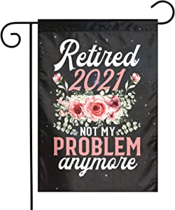 Retirement Gifts for Women 2021 Cute Pink Retired 2021 Garden Flag,Yard Burlap Welcome Garden Flag Double Sided,Spring and Summer Rustic Garden Decoration Sign,Small Garden Flags 12x18 Prime
