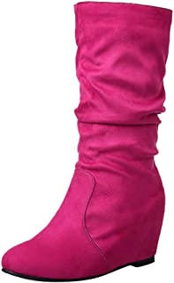 Women Fashion Solid Color Faux Suede Mid-Calf Wedge Heel Boots