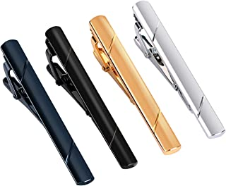 UHIBROS Mens Tie Clip Tie Bar Set for Regular Ties Silver, Black, Blue,Gold Tone Luxury Gift Box Wedding Business Clips