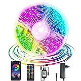 Auplf - Tira de LED de 15 m, 24 V, 5050 RGB con mando a distancia de 40 teclas y aplicación de cambio de color, luces de colores para casa, dormitorio, cocina (15 m)