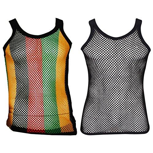 UD Accessories Netz-Weste, 100 % Baumwolle, gestreift, Schwarz / Rot / Grün / Gelb Gr. S, 2 Stück (1 Rasta-Streifen, 1 einfarbig)