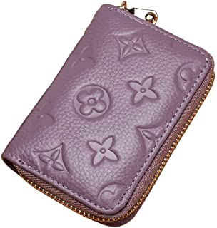 Auner Women RFID Blocking Credit Card Holder Leather Cute Small Zipper Wallet