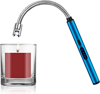 Candle Lighter, Smart USB Arc Lighter with Touch Sensor, 360° Flexible Long Neck and LED Real-Time Battery Capacity, Windproof Suitable for Lighting in Candle Fireworks Fireplace Barbecue