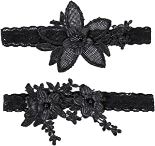 Lace Wedding Bridal Garter Belt Set For Women, Black