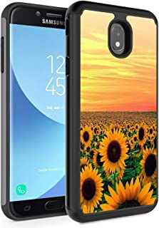 Galaxy J3 2018/J3 Express Prime 3/J3 Star/J3 Achieve Case,Rossy Hybrid TPU Plastic Dual Layer Armor Defender Protection Case for Samsung Galaxy J3 2018,Sunflower Sky Field Yellow Flowers