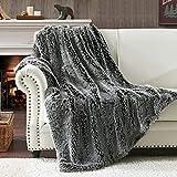 HORIMOTE HOME Manta de piel sintética – Lujosa manta de pelo largo y mullida para sofá y cama, color gris 152 x 203 cm