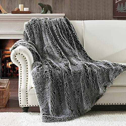 PANDATEX Faux Fur Throw Blanket - Luxury Shaggy Warm Fuzzy Fluffy Elegant Long Hair Washable Decoration Blanket for Sofa Couch and Bed, Black and White 60x80 in