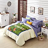 MeMoreCool Simple&Fashion Design 100% Cotton Bedding Set Girly Reactive Printed Duvet Cover Set Sweet Princess Bedding