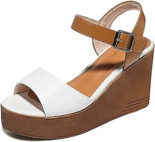 HWF レディースシューズ 厚手のボトムサンダルMハイヒール夏の女性の靴女性 ( 色 : 白 , サイズ さいず : 35 )